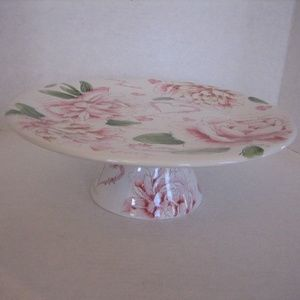 Amour Pink/White Floral Love Ceramic Cake Stand NW